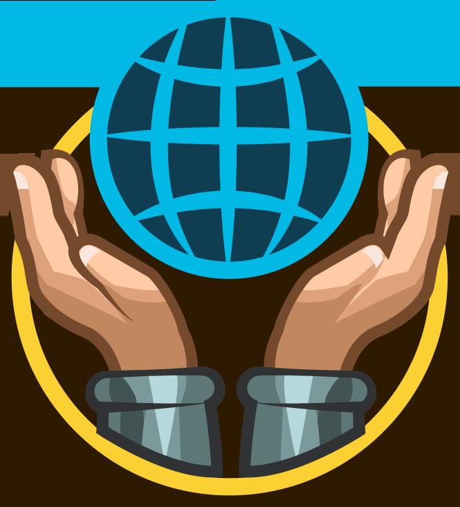 Cartoon hands holding world drawn as a blue network