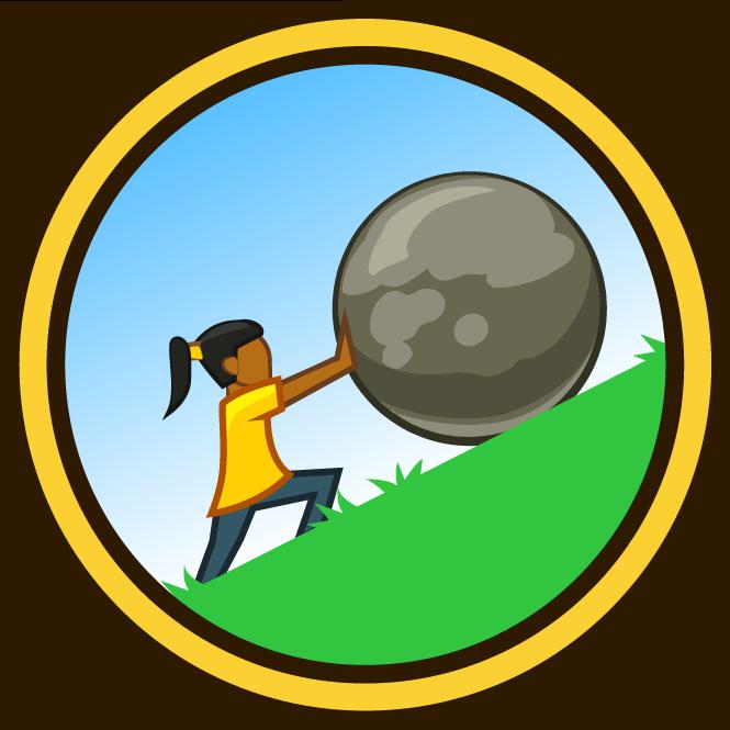 Cartoon girl rolling huge stone up a mountain