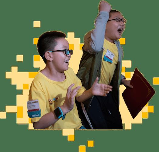 AI League scene: competitive kids cheering