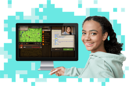 Online classes scene: girl playing CodeCombat on video call with her teacher